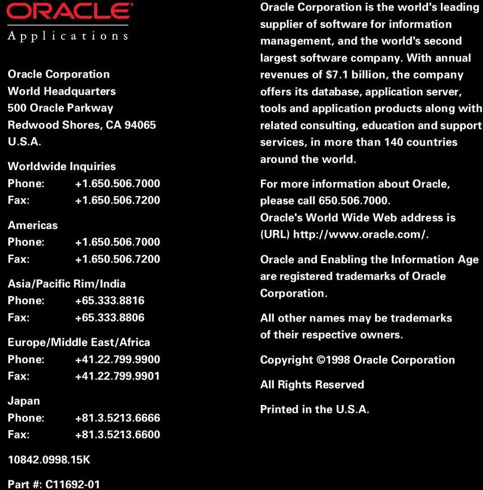 6666 Fax: +81.3.5213.6600 Oracle Corporation is the world's leading supplier of software for information management, and the world's second largest software company. With annual revenues of $7.