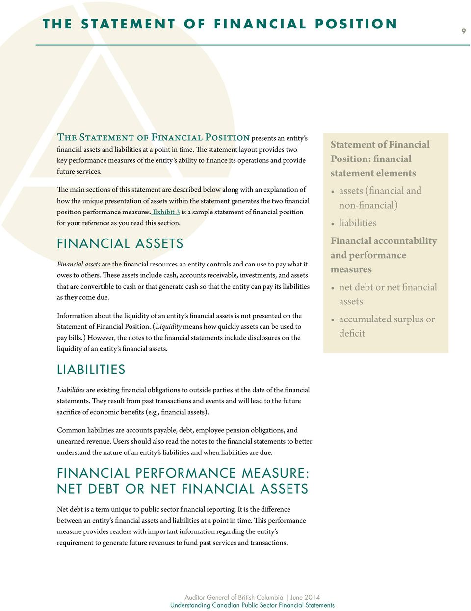 The main sections of this statement are described below along with an explanation of how the unique presentation of assets within the statement generates the two financial position performance