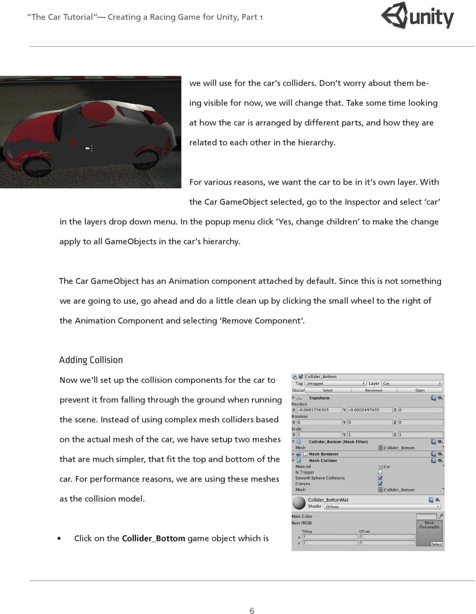 The Car Tutorial Part 1 Creating a Racing Game for Unity - PDF