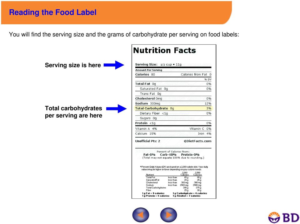per serving on food labels: Serving size is