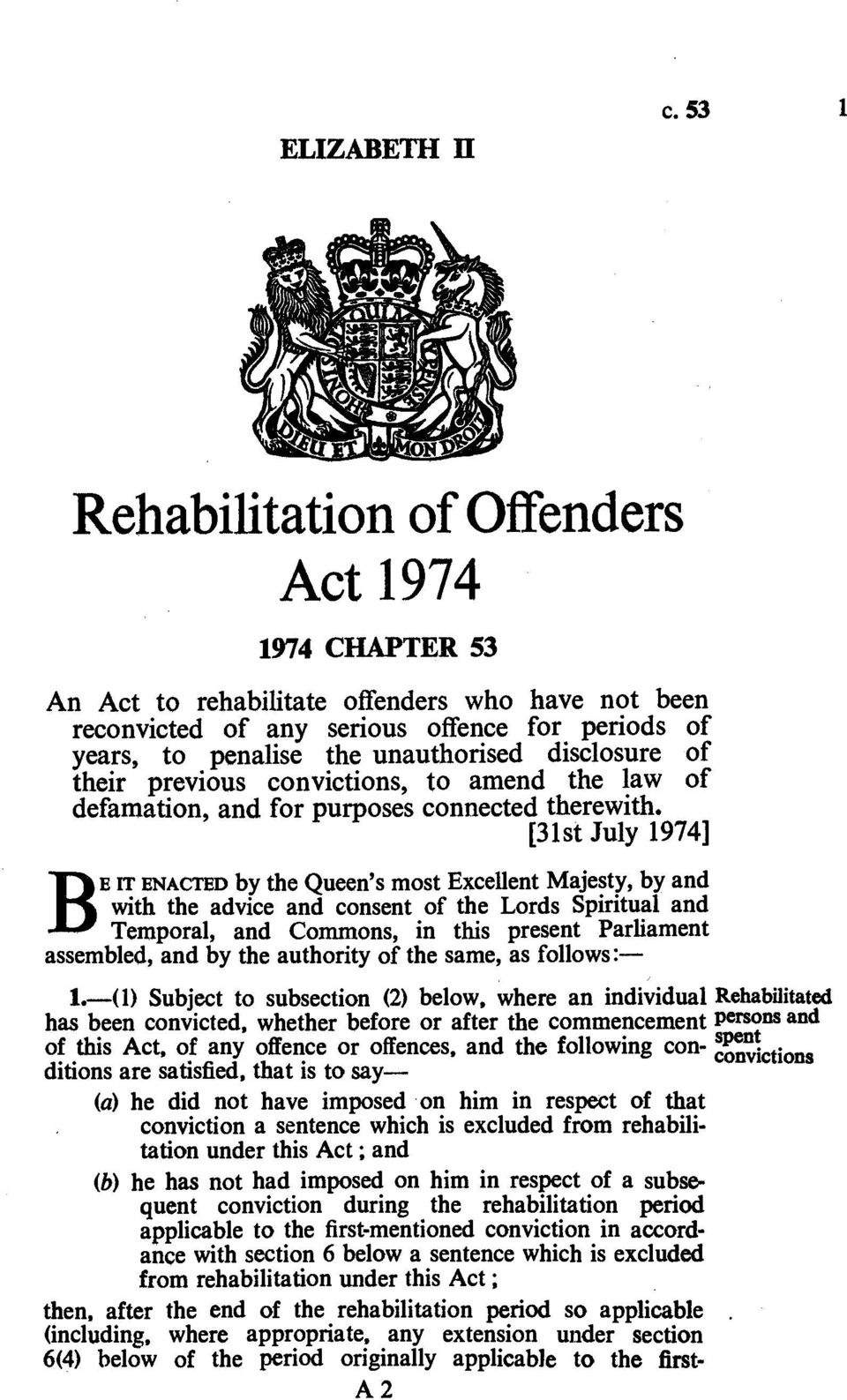 disclosure of their previous convictions, to amend the law of defamation, and for purposes connected therewith.