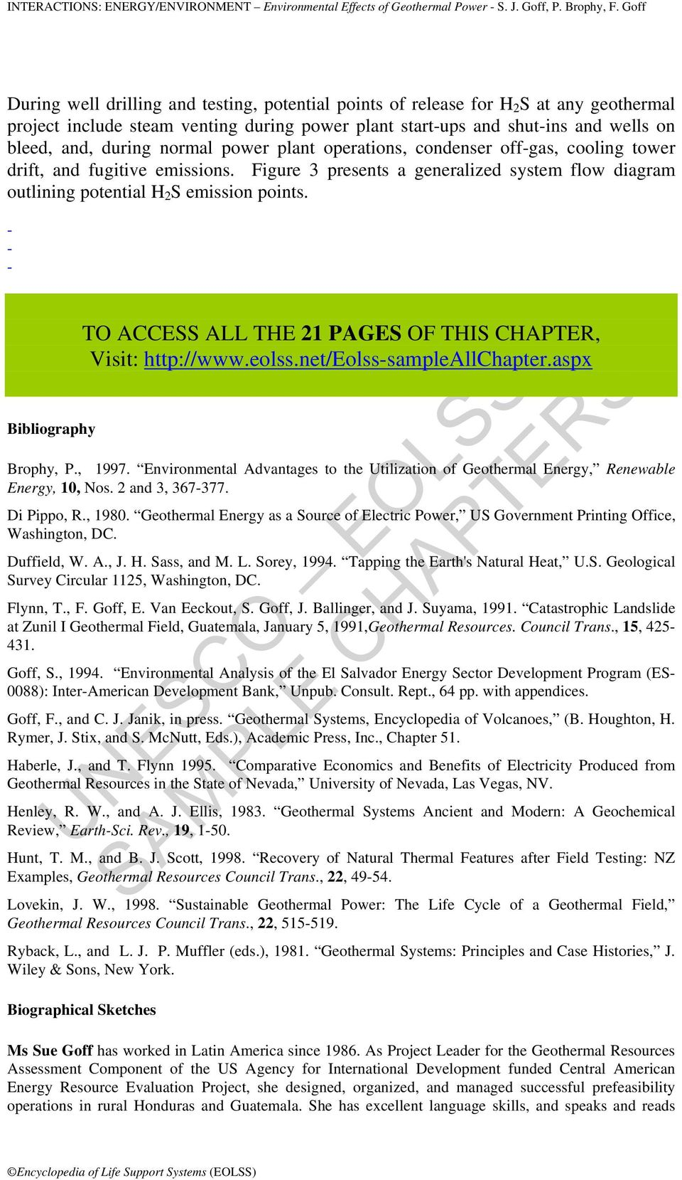 Interactions Energy Environment Environmental Effects Of Geothermal Power Plant Diagram Bibliography To Access All The 21 Pages This Chapter Visit