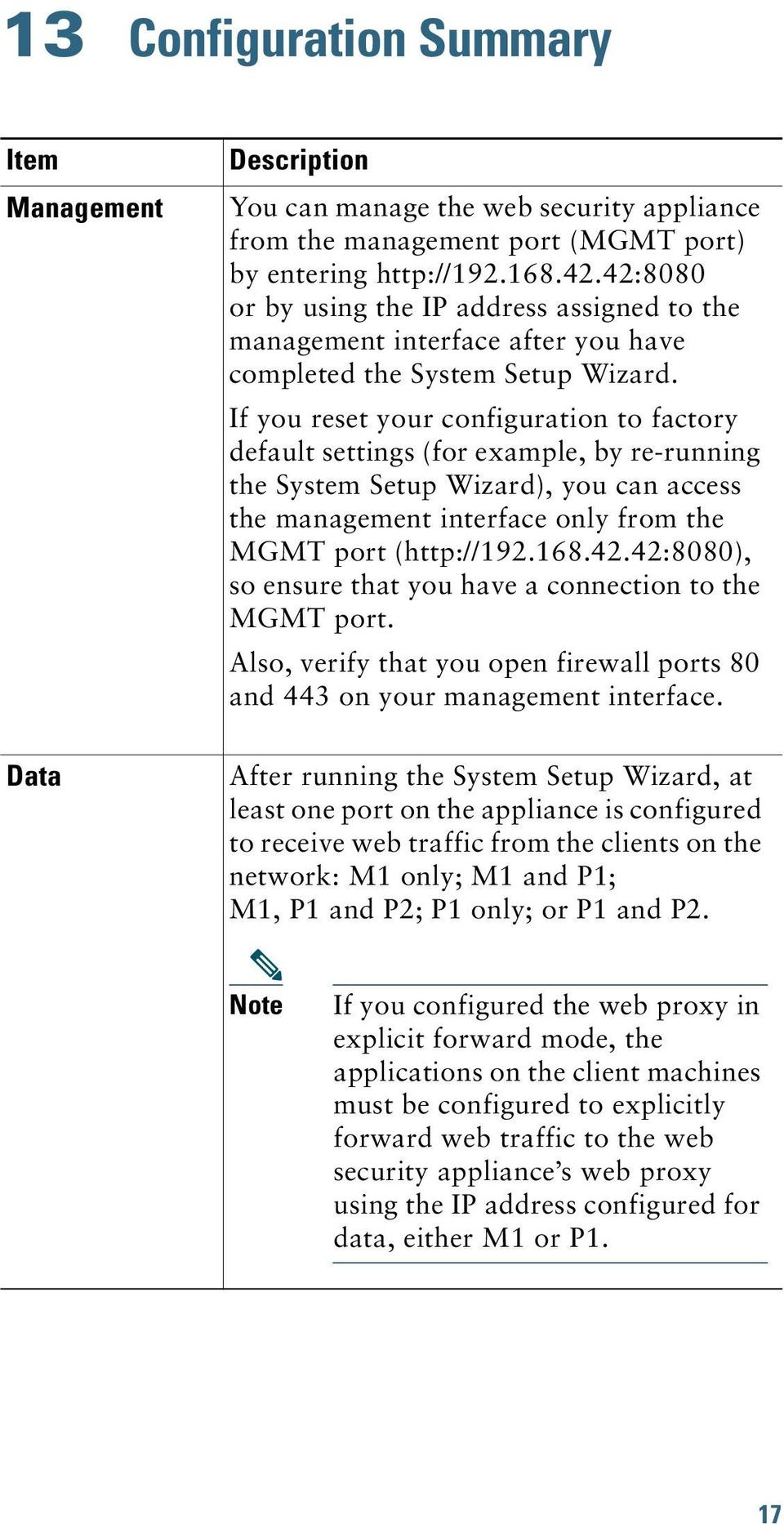 If you reset your configuration to factory default settings (for example, by re-running the System Setup Wizard), you can access the management interface only from the MGMT port (http://192.168.42.