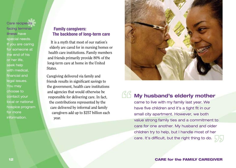 FAMILY CAREGIVER: A Place to Start  CARE for the FAMILY CAREGIVER: A