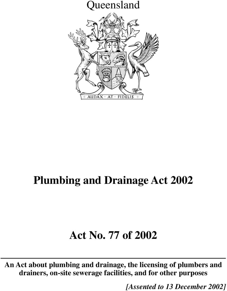 licensing of plumbers and drainers, on-site sewerage