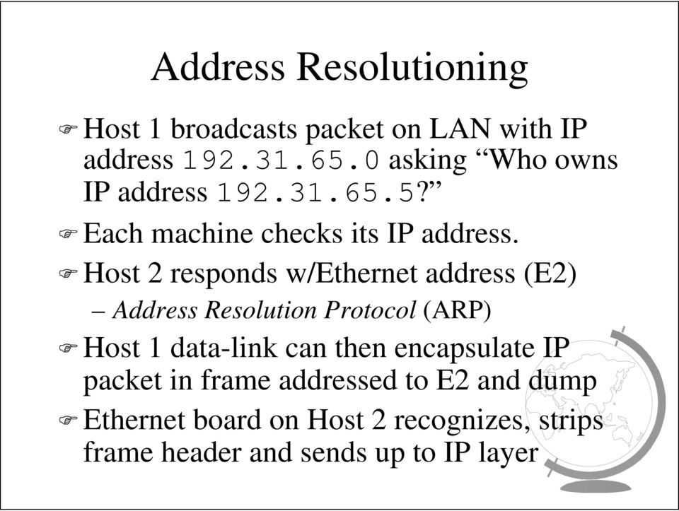 Host 2 responds w/ethernet address (E2) Address Resolution Protocol (ARP) Host 1 data-link can