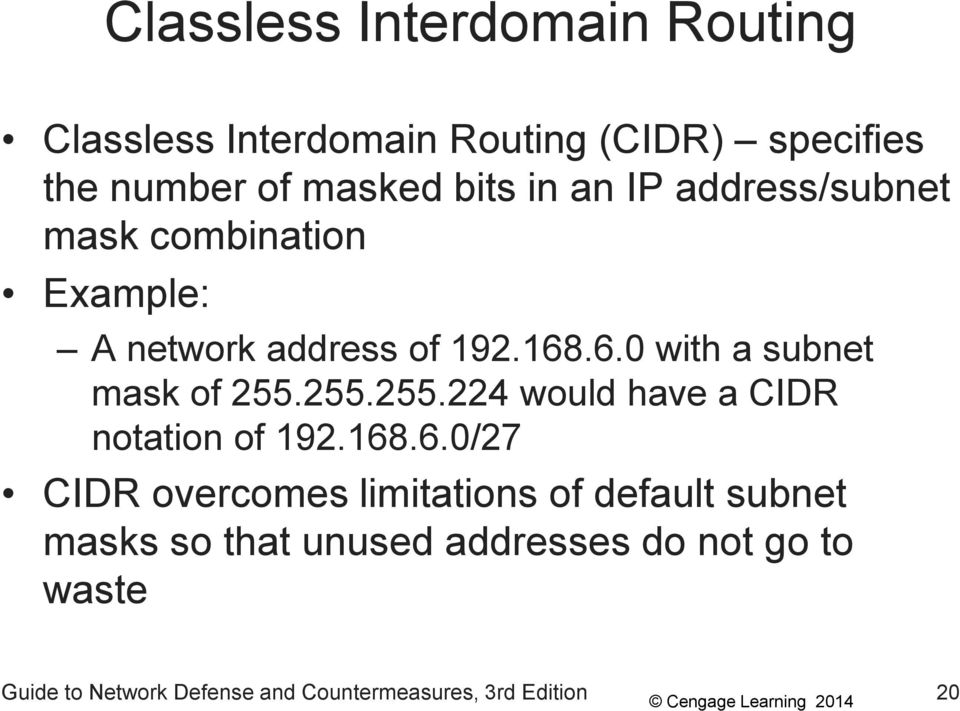 255.255.224 would have a CIDR notation of 192.168