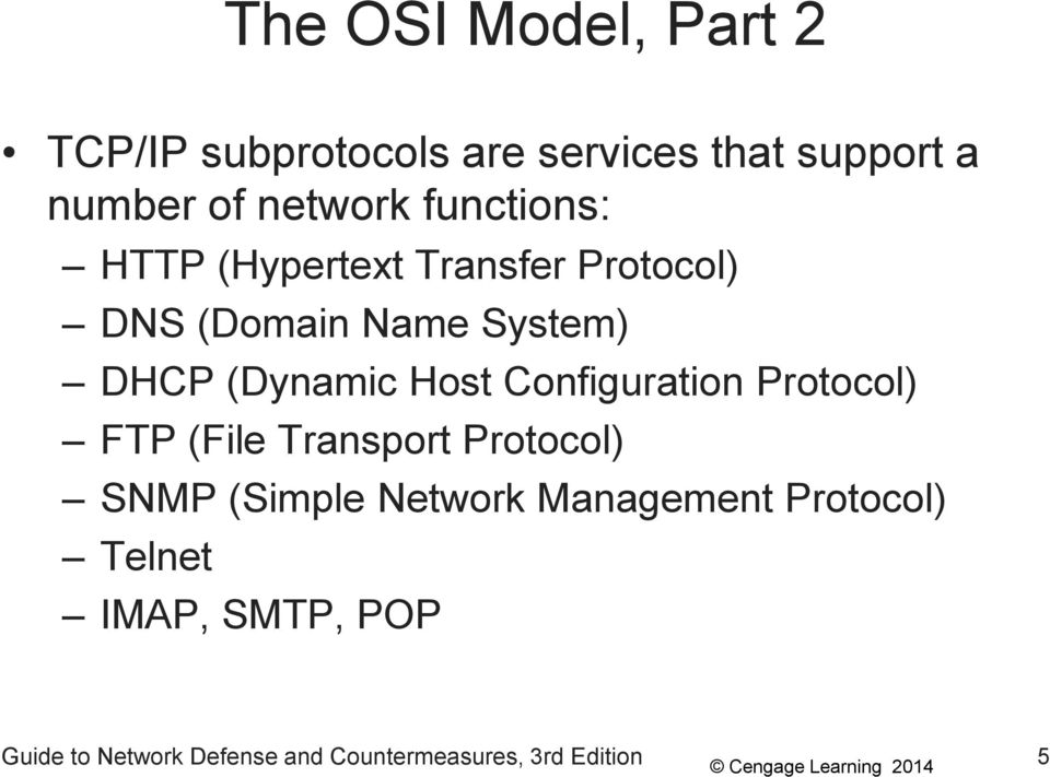 Host Configuration Protocol) FTP (File Transport Protocol) SNMP (Simple Network