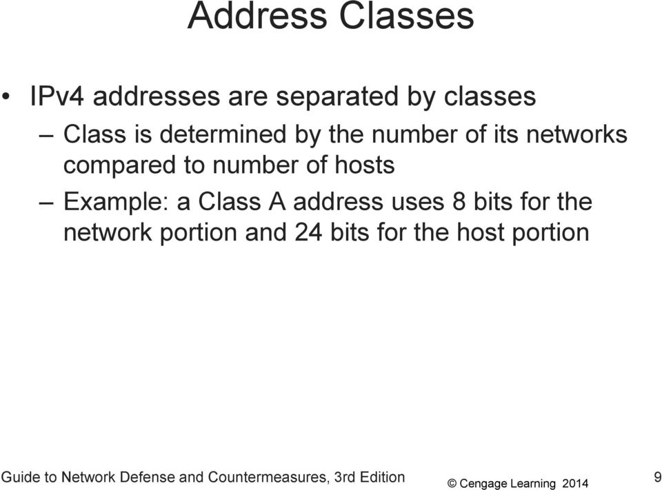 Example: a Class A address uses 8 bits for the network portion and 24