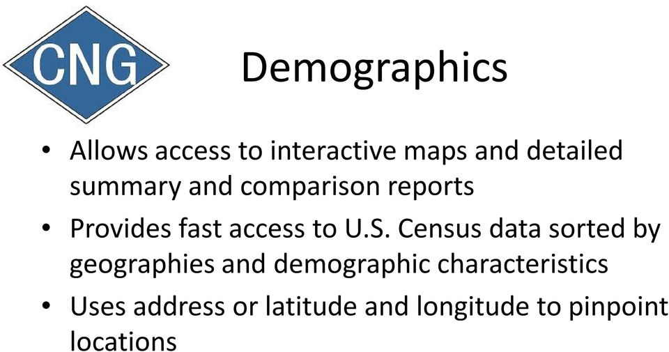 Census data sorted by geographies and demographic