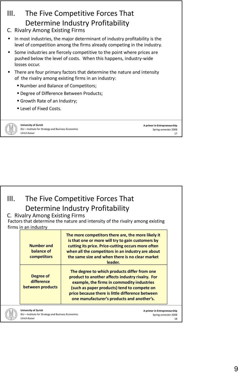 There are four primary factors that determine the nature and intensity of the rivalry among existing firms in an industry: Number and Balance of Competitors; Degree of Difference Between Products;