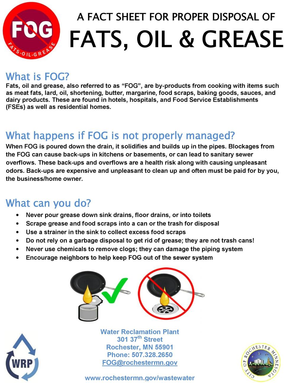 products. These are found in hotels, hospitals, and Food Service Establishments (FSEs) as well as residential homes. What happens if FOG is not properly managed?