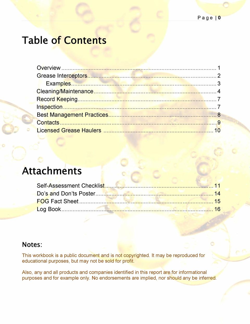 .. 14 FOG Fact Sheet... 15 Log Book... 16 Notes: This workbook is a public document and is not copyrighted.