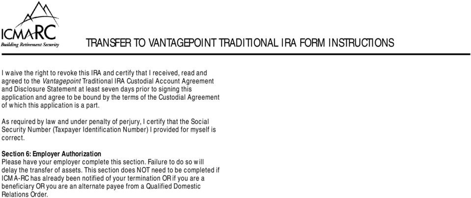 Transferring Your Icma Rc Retirement Plan Account To A Vantagepoint