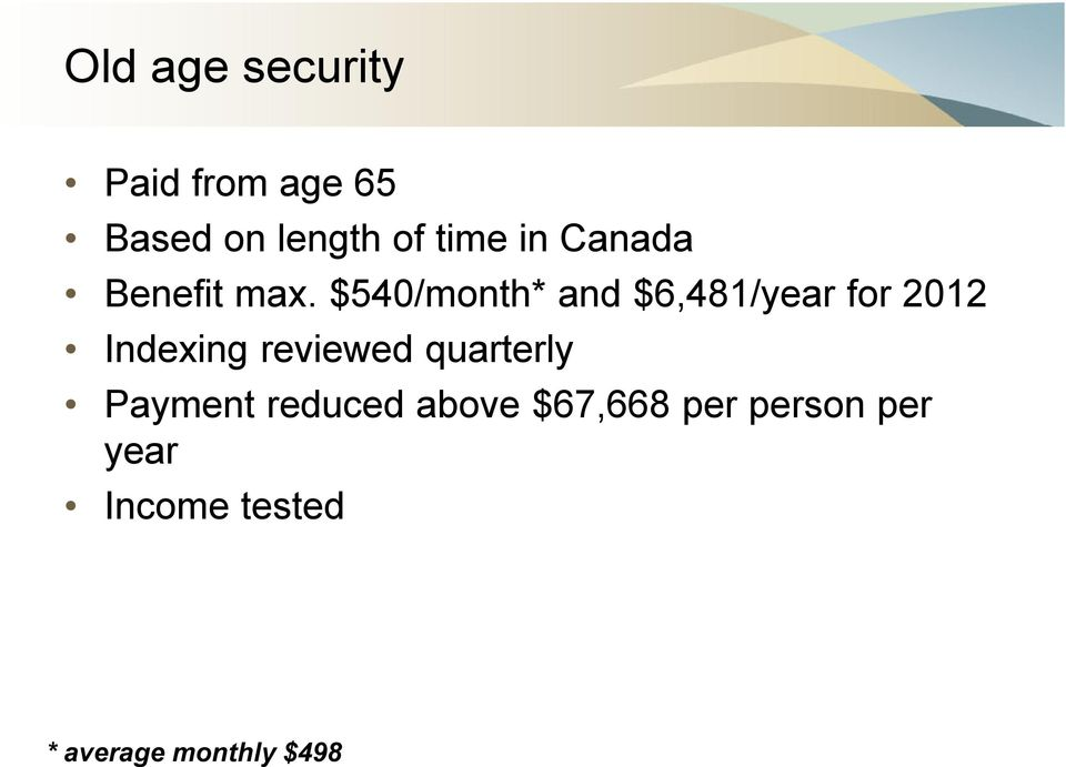 $540/month* and $6,481/year for 2012 Indexing reviewed