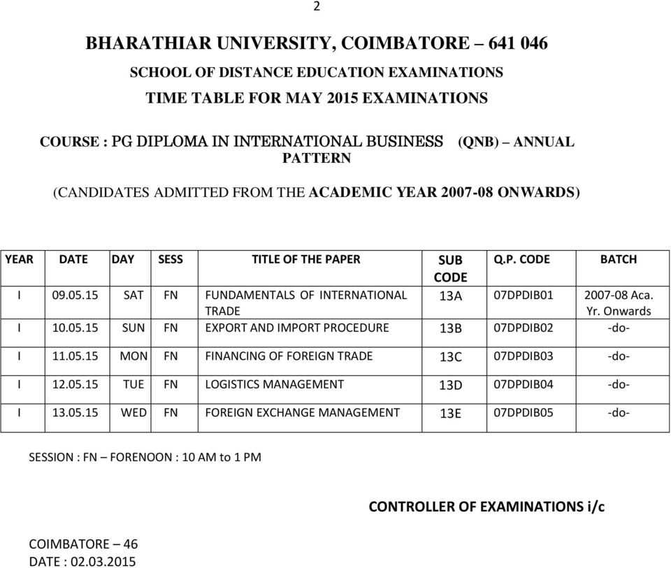 bharathiar university coursework evaluation sheet