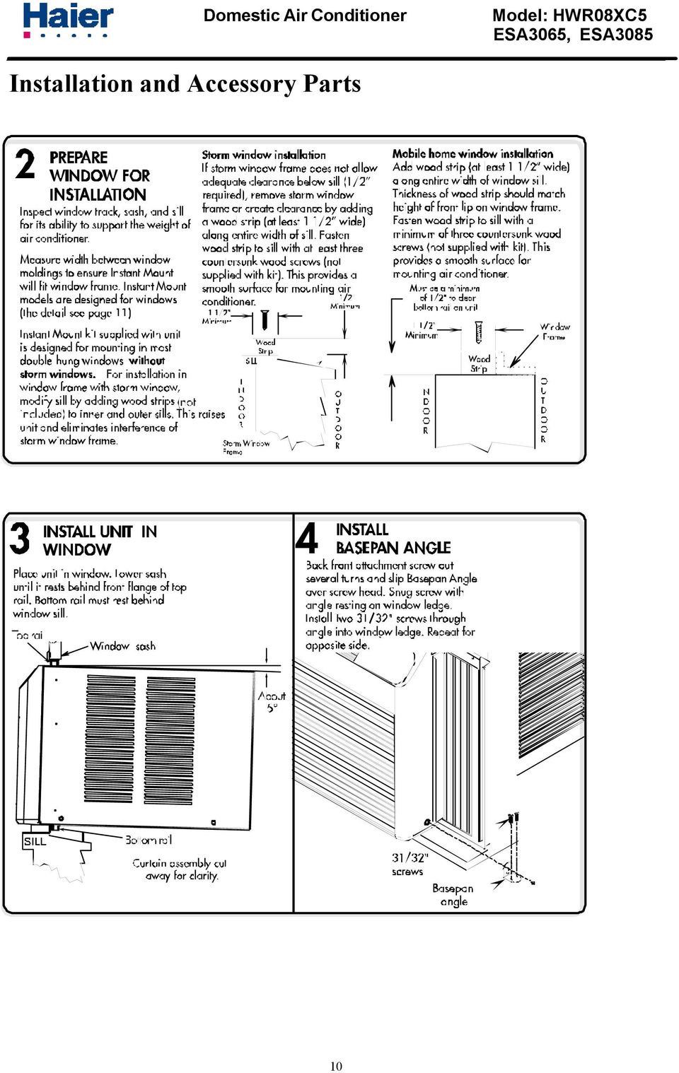 Haier Window Type Air Conditioner Service Manual Part Ac Wiring Diagram 12 Installation And Accessory Parts 10
