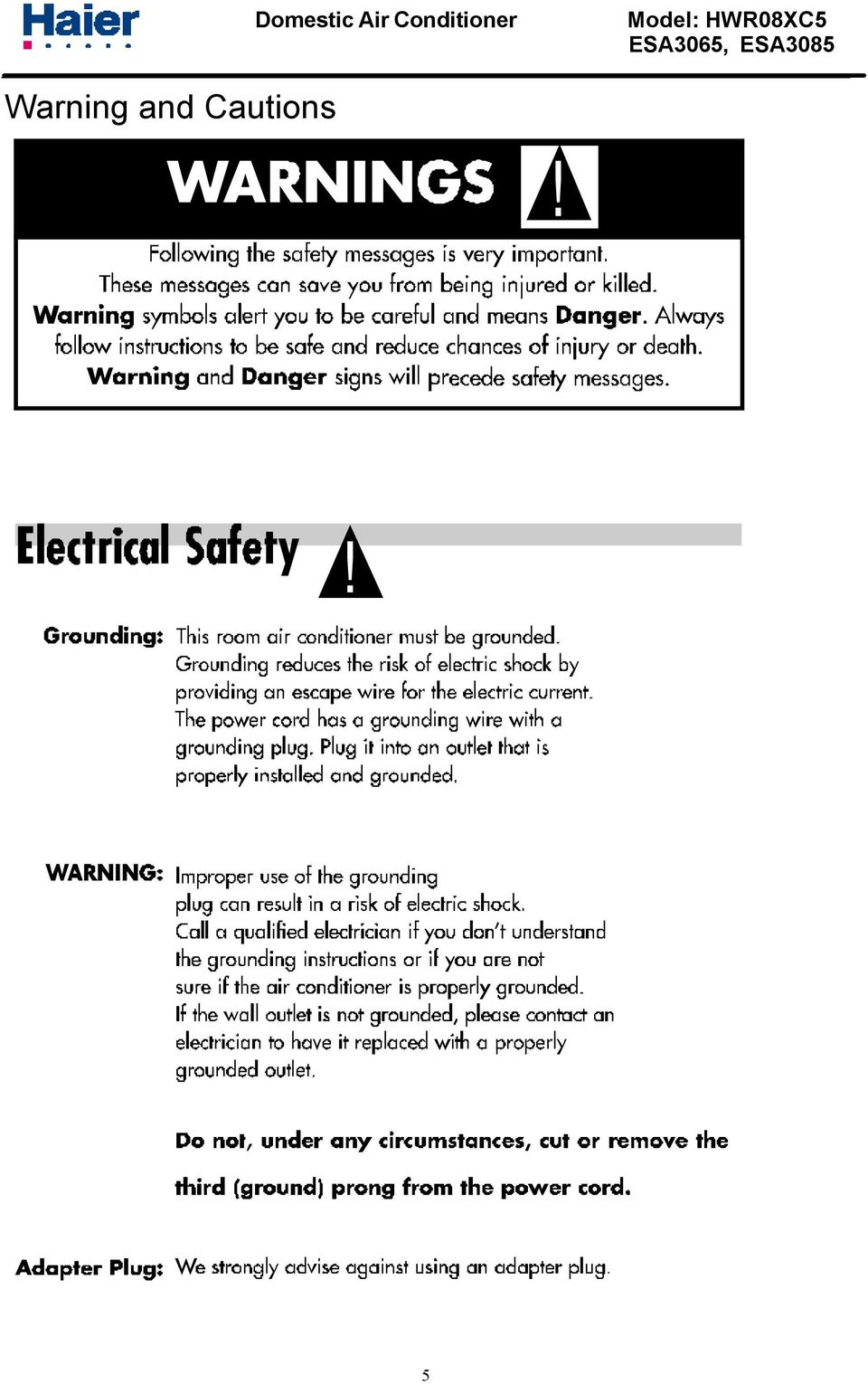 Haier Window Type Air Conditioner Service Manual Part Ac Wiring Diagram Cautions