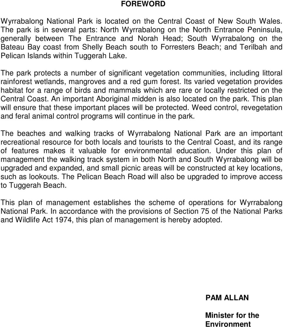 WYRRABALONG NATIONAL PARK PLAN OF MANAGEMENT - PDF
