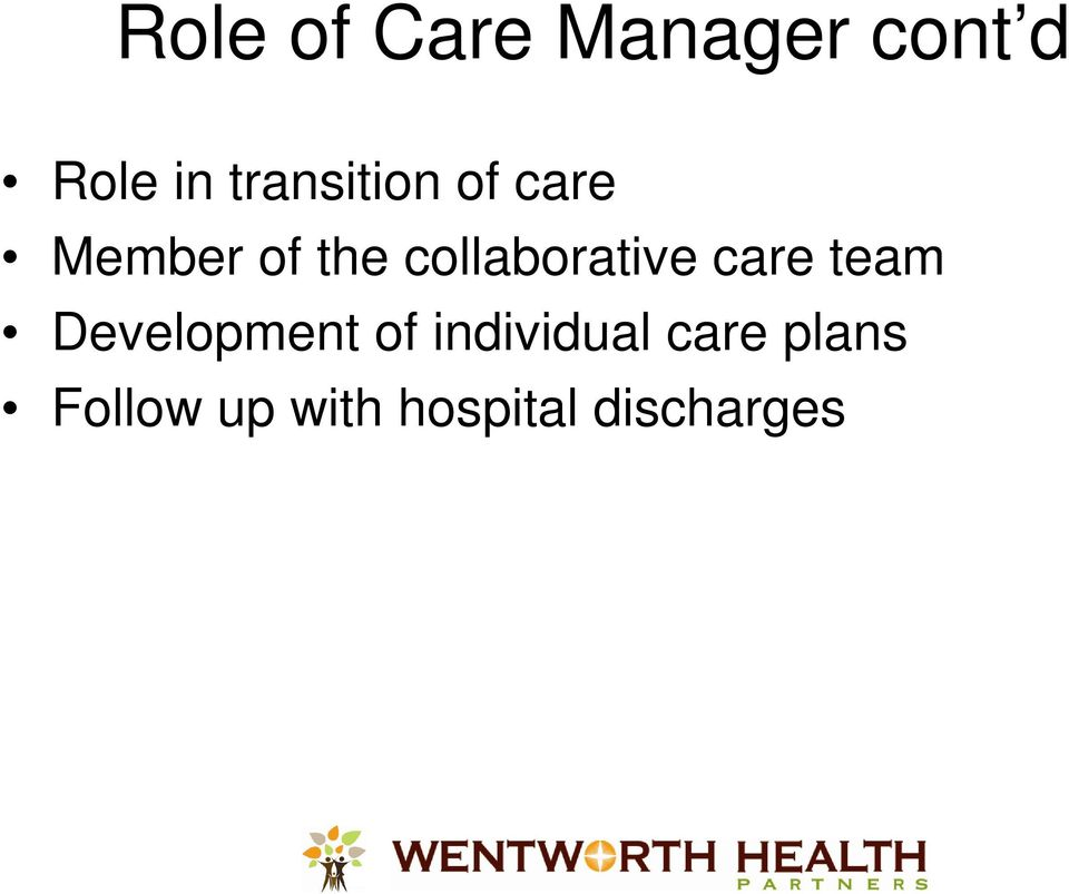 collaborative care team Development of