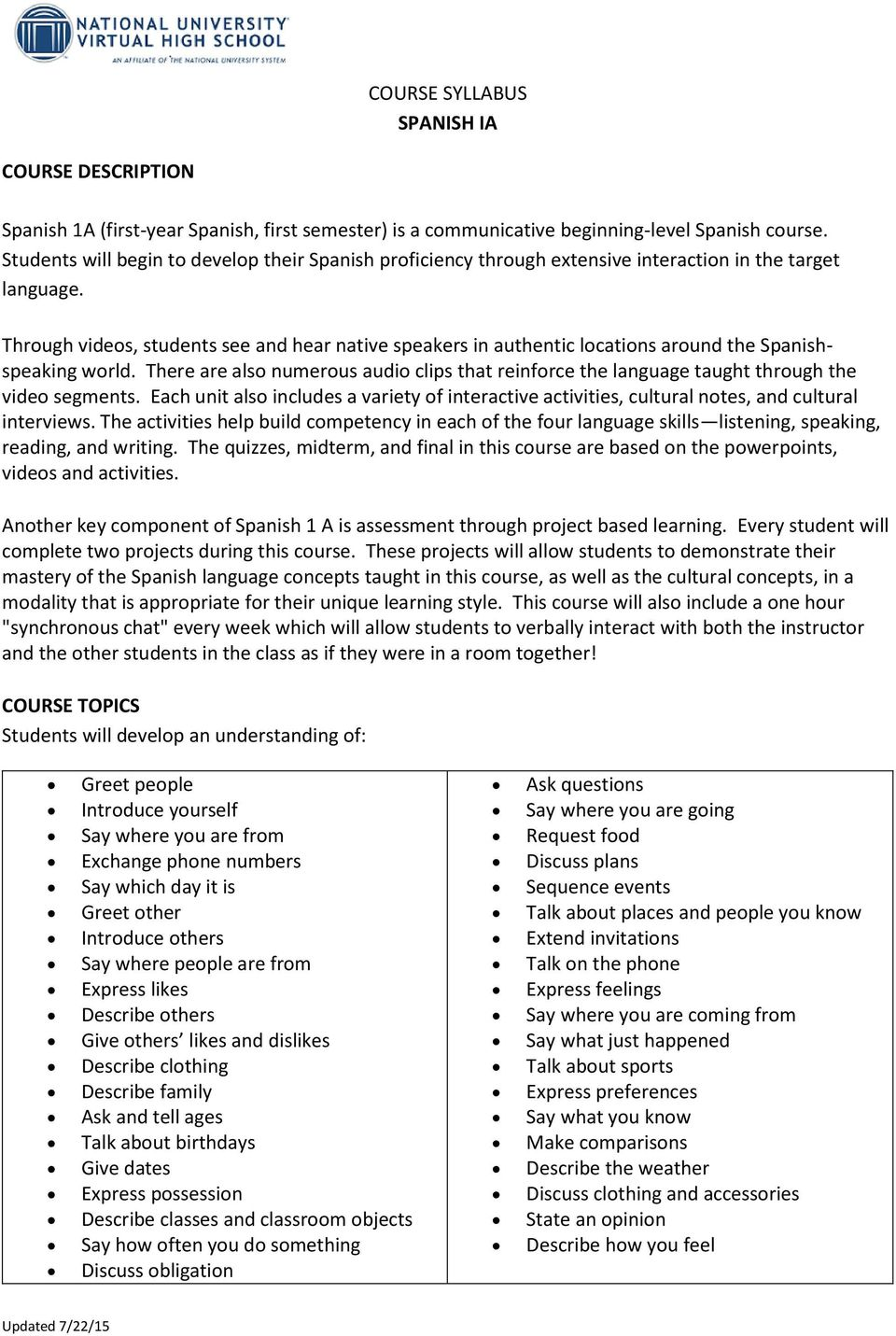 Course Syllabus Spanish Ia Pdf