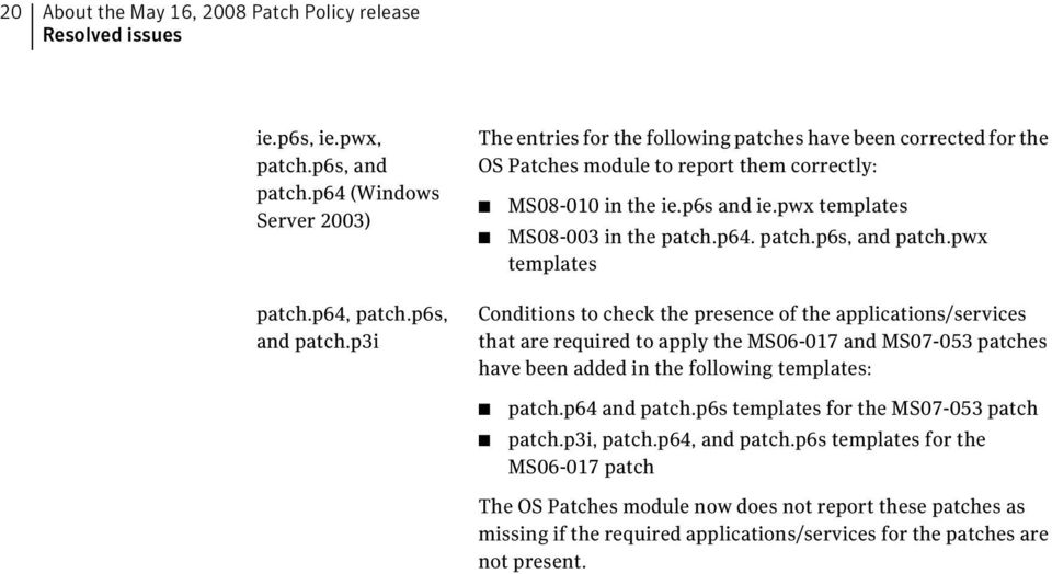 p6s and ie.pwx templates MS08-003 in the patch.p64. patch.p6s, and patch.