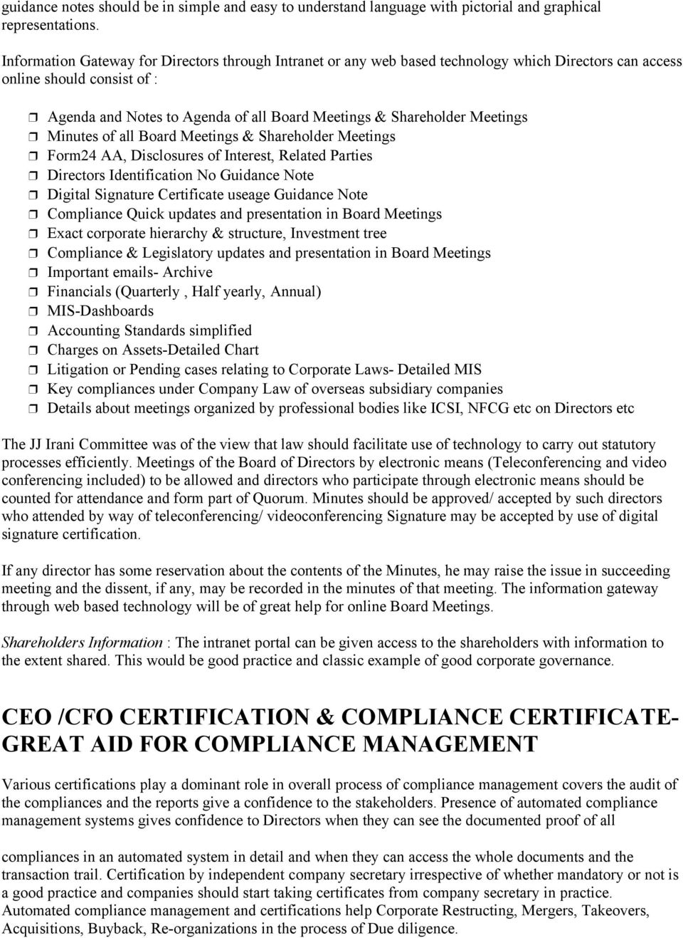 Compliance Management Of Company Law Compliances Approach And