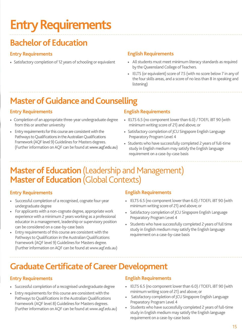 5 (with no score below 7 in any of the four skills areas, and a score of no less than 8 in speaking and listening) Master of Guidance and Counselling Entry Requirements Completion of an appropriate