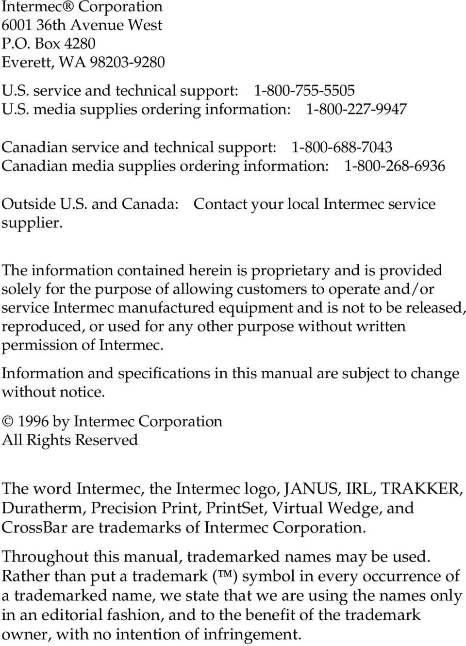 media supplies ordering information: 1-800-227-9947 Canadian service and  technical