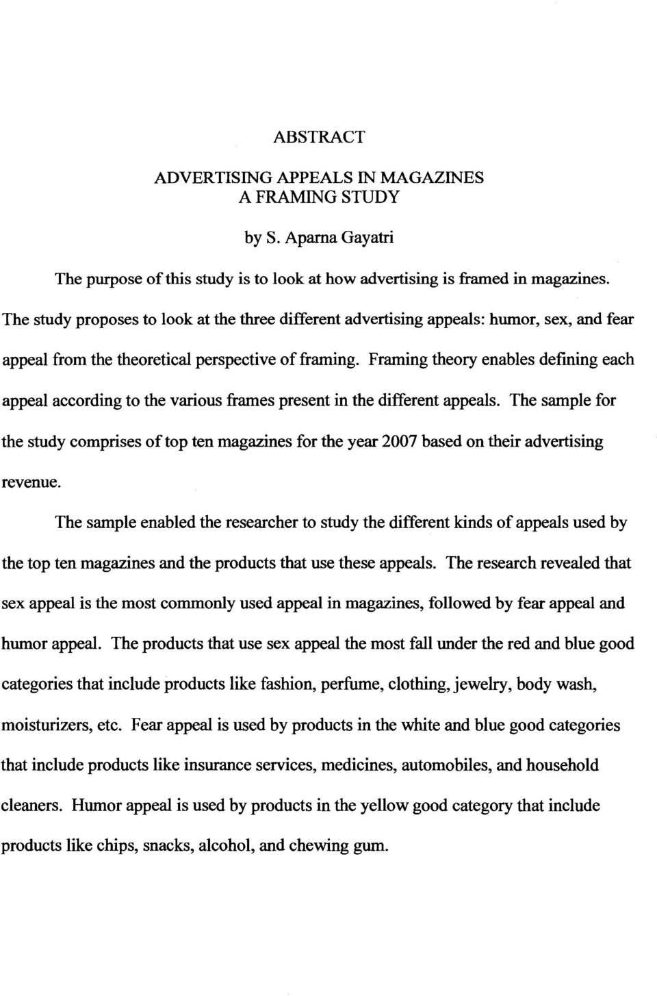 Advertising appeals in magazine : a framing study - PDF