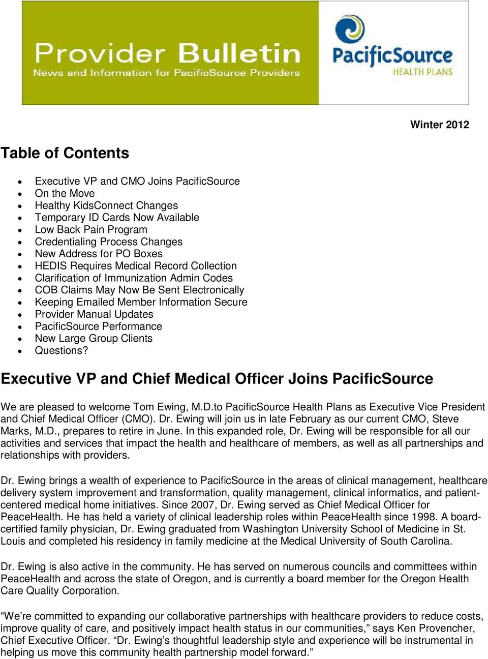 Executive Vp And Chief Medical Officer Joins Pacificsource Pdf