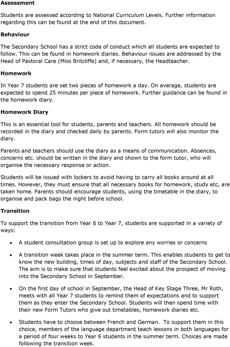 Entry to Year 7 - Information for Parents - PDF