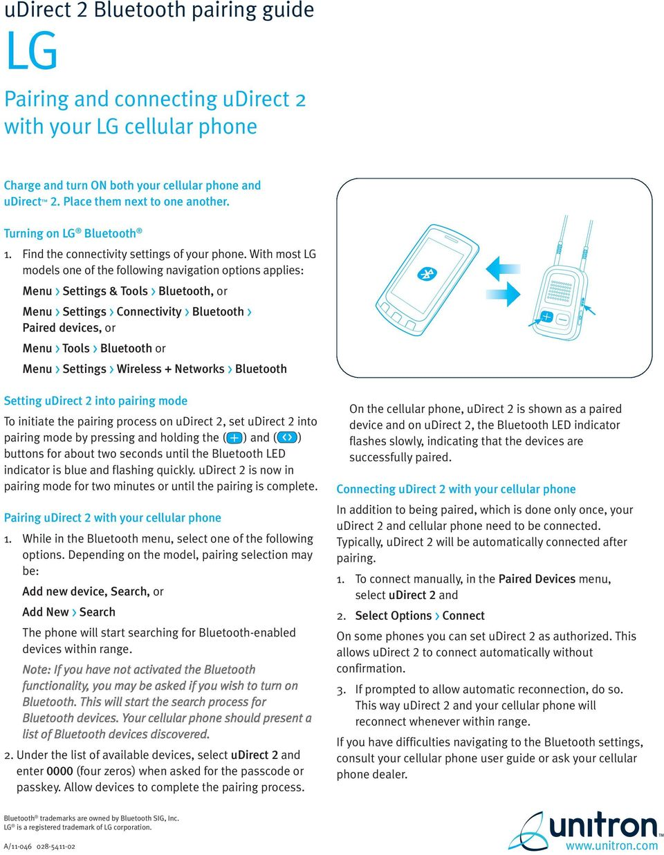 Nokia  udirect 2 Bluetooth pairing guide  Pairing and