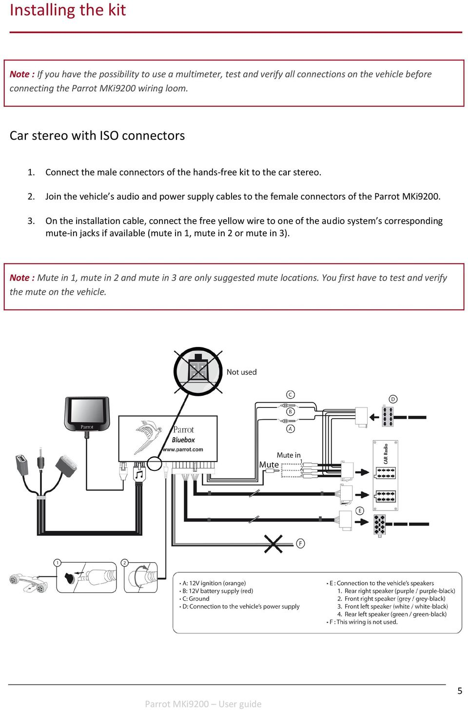 Parrot Mki9200 User Guide Pdf Wiring Diagram Nokia Car Kit Join The Vehicle S Audio And Power Supply Cables To Female Connectors Of