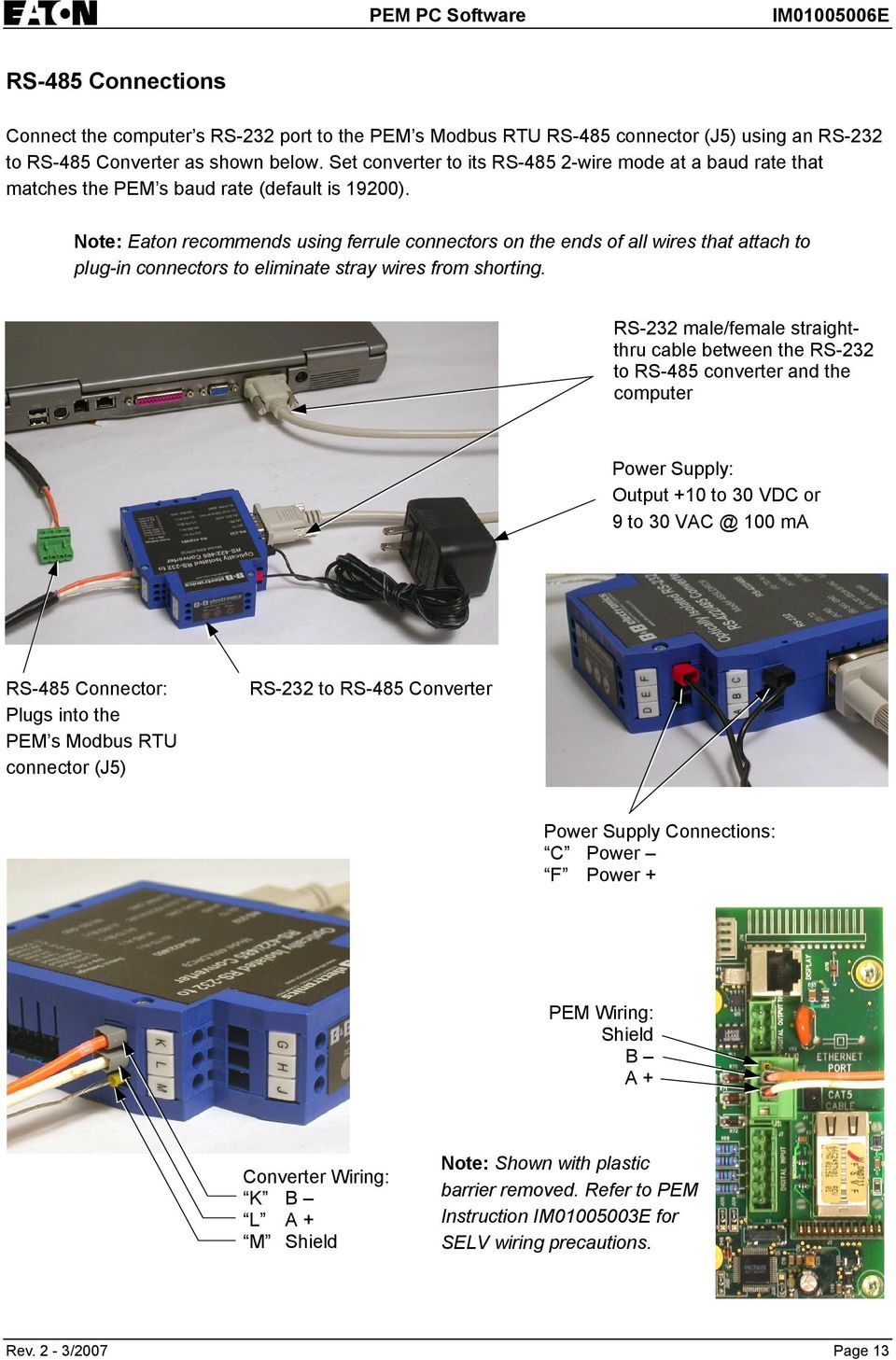 Modbus Rtu Rs 485 Tcp Ip Ethernet Pdf 2wire Wiring Note Eaton Recommends Using Ferrule Connectors On The Ends Of All Wires That Attach To