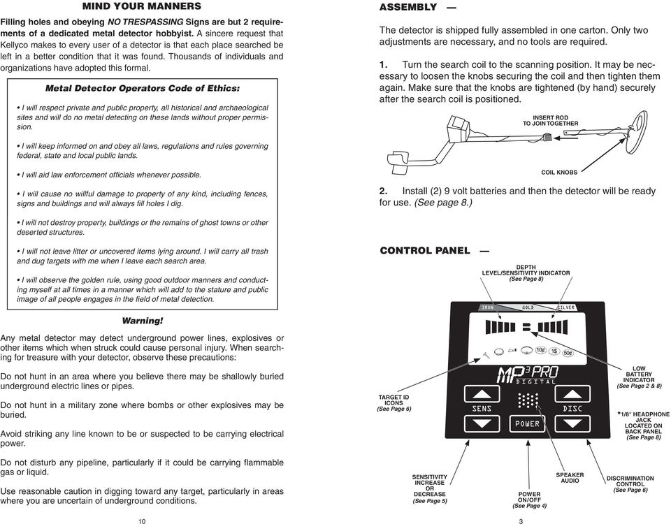 MP 3 PRO METAL DETECTOR Owners S Manual High Performance