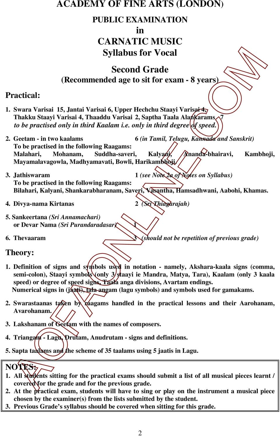 Academy Of Fine Arts London First Grade B Recommended Age To Sit For Exam 7 Years Practical Examination Only Pdf Free Download