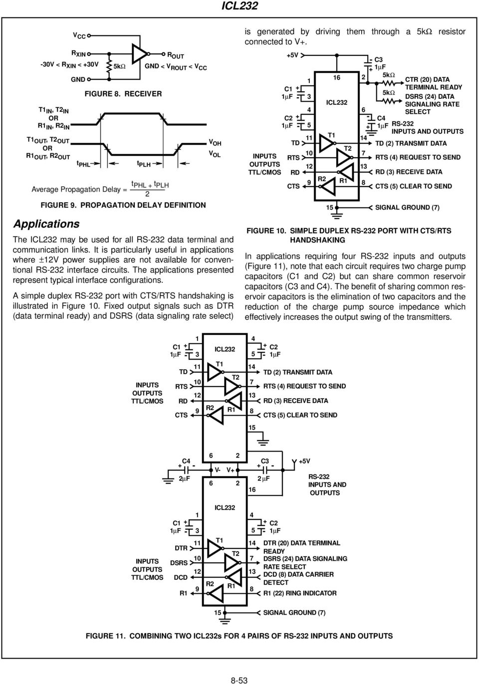 It is particularly useful in applications where ±V power supplies are not available for conventional RS interface circuits. The applications presented represent typical interface configurations.