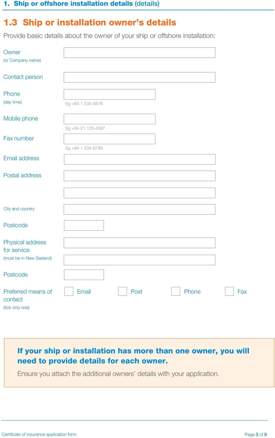 Certificate of insurance application form - PDF