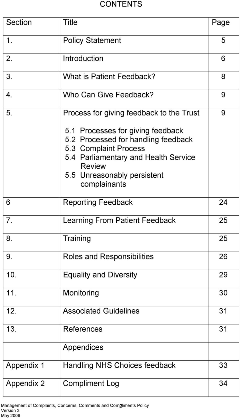 4 Parliamentary and Health Service Review 5.5 Unreasonably persistent complainants 6 Reporting Feedback 24 7. Learning From Patient Feedback 25 8.