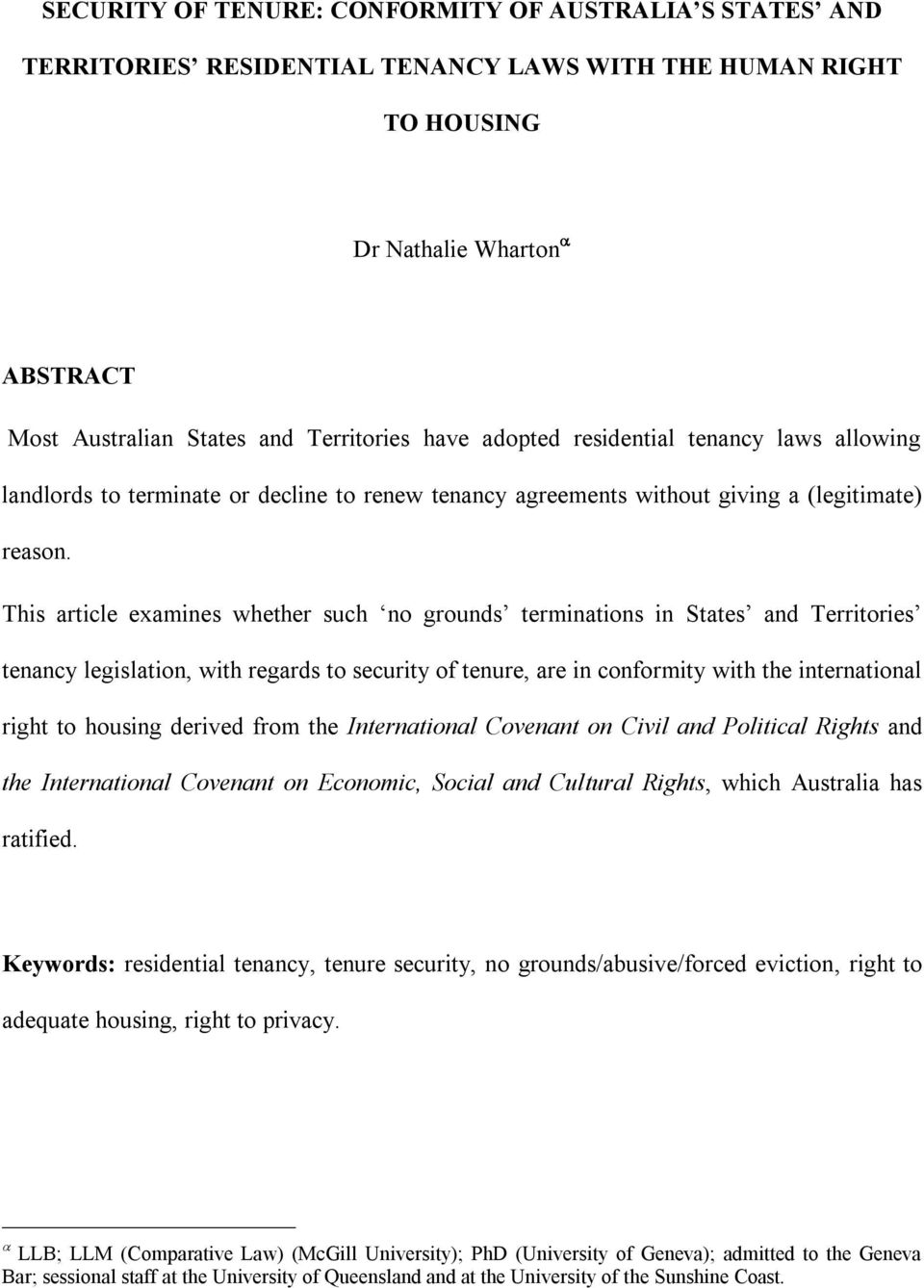 Security Of Tenure Conformity Of Australia S States And Territories