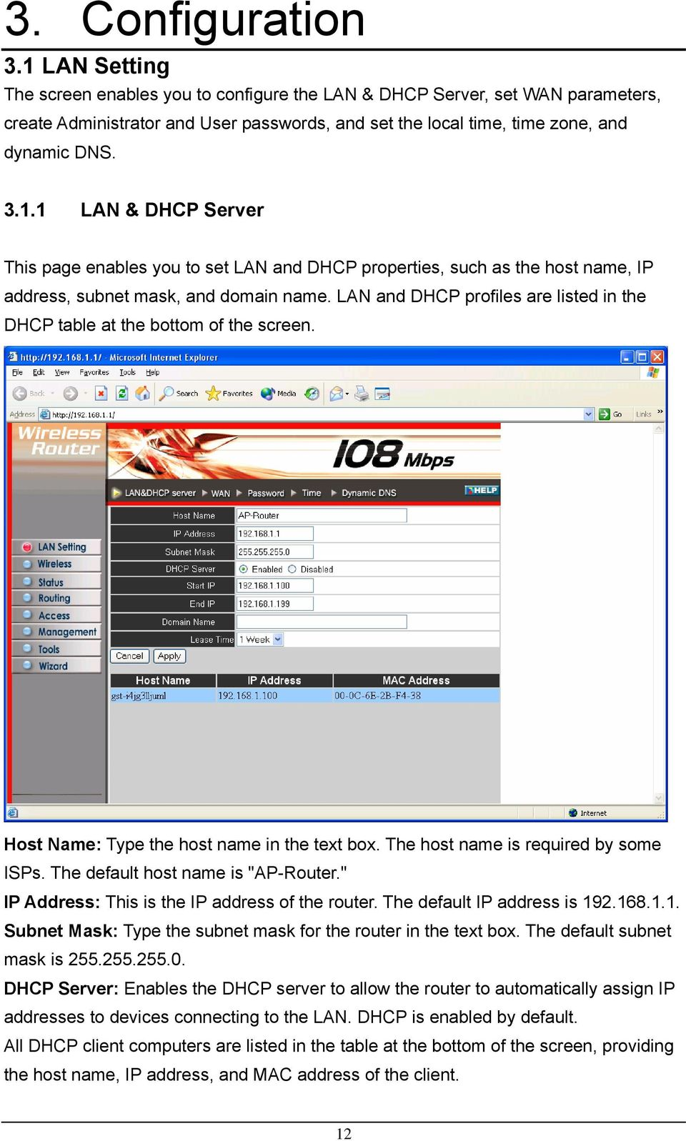LAN and DHCP profiles are listed in the DHCP table at the bottom of the screen. Host Name: Type the host name in the text box. The host name is required by some ISPs.