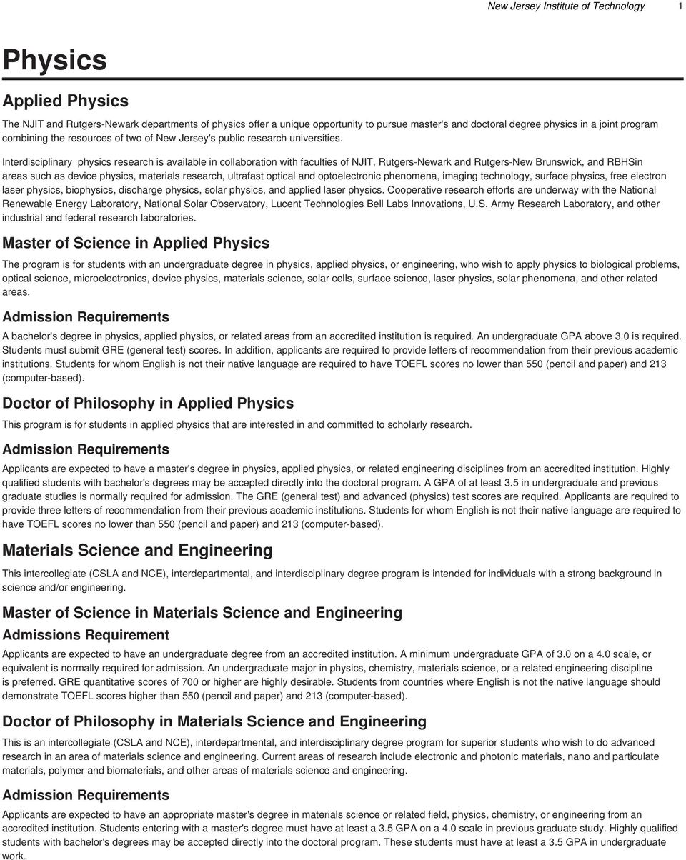 Physics  Applied Physics  Materials Science and Engineering  Master