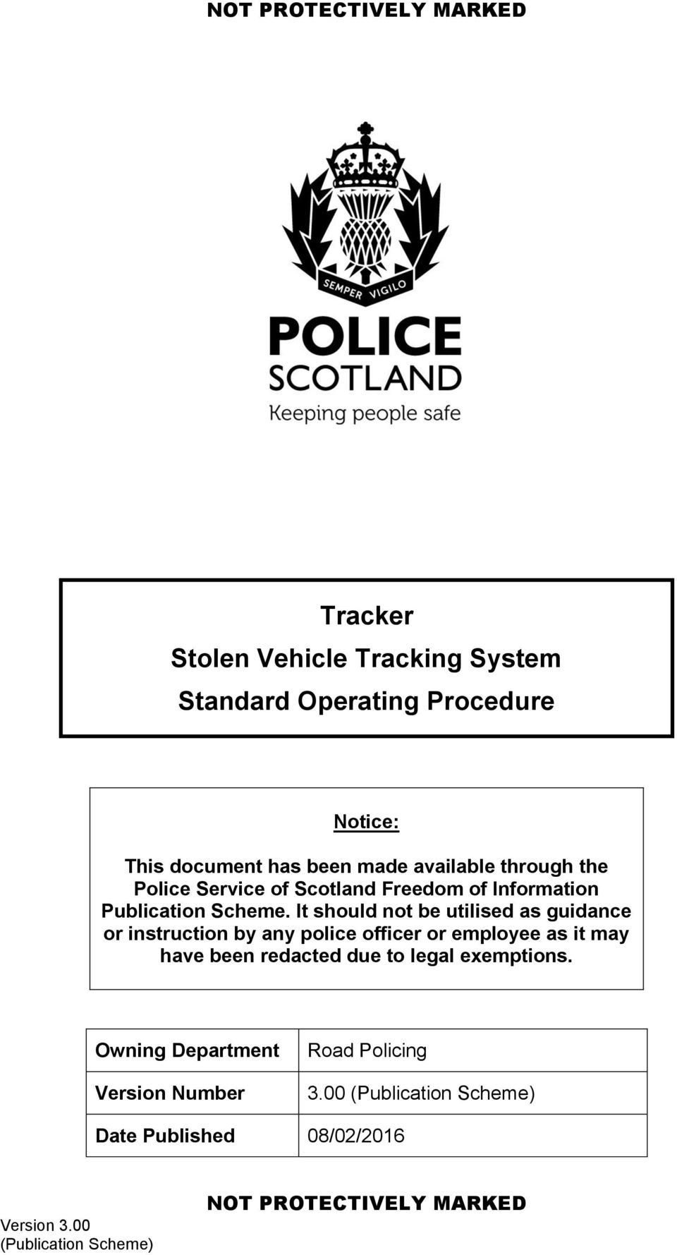 Tracker Stolen Vehicle Tracking System Standard Operating