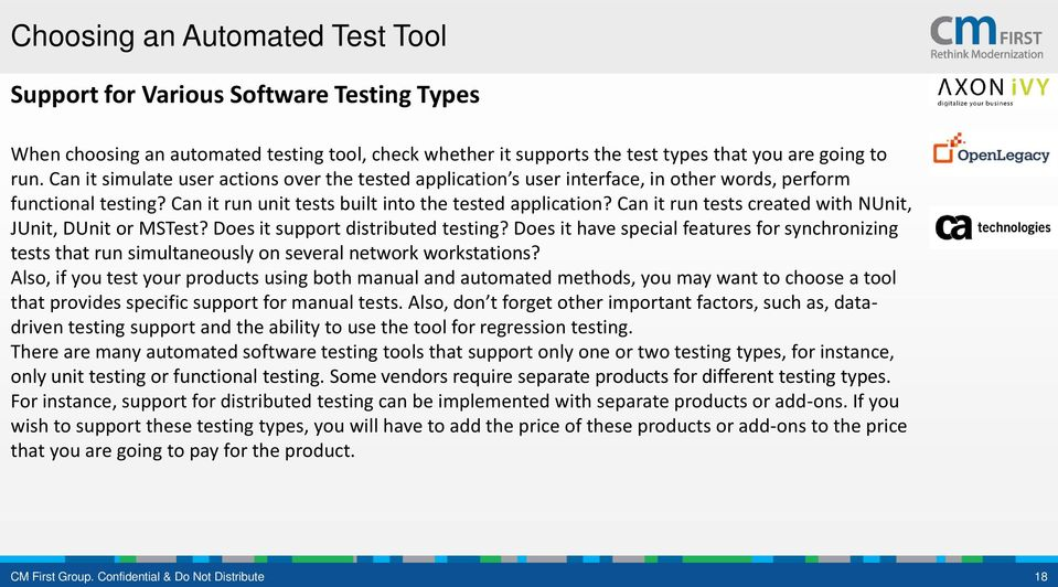 Can it run tests created with NUnit, JUnit, DUnit or MSTest? Does it support distributed testing?