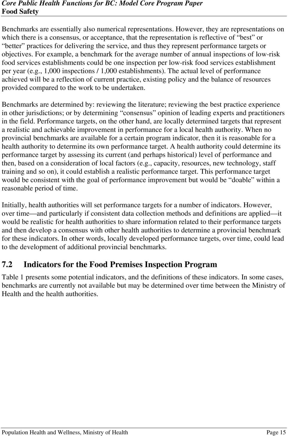 Model Core Program Paper: Food Safety - PDF