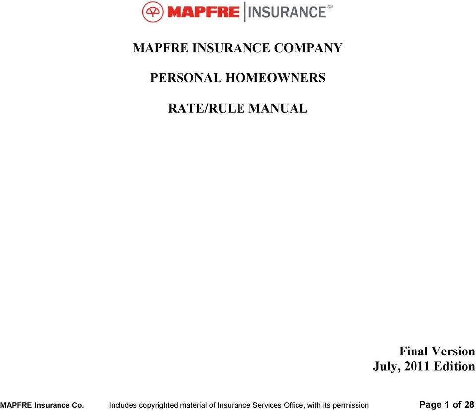 Mapfre Insurance Company Personal Homeowners Rate Rule Manual Pdf
