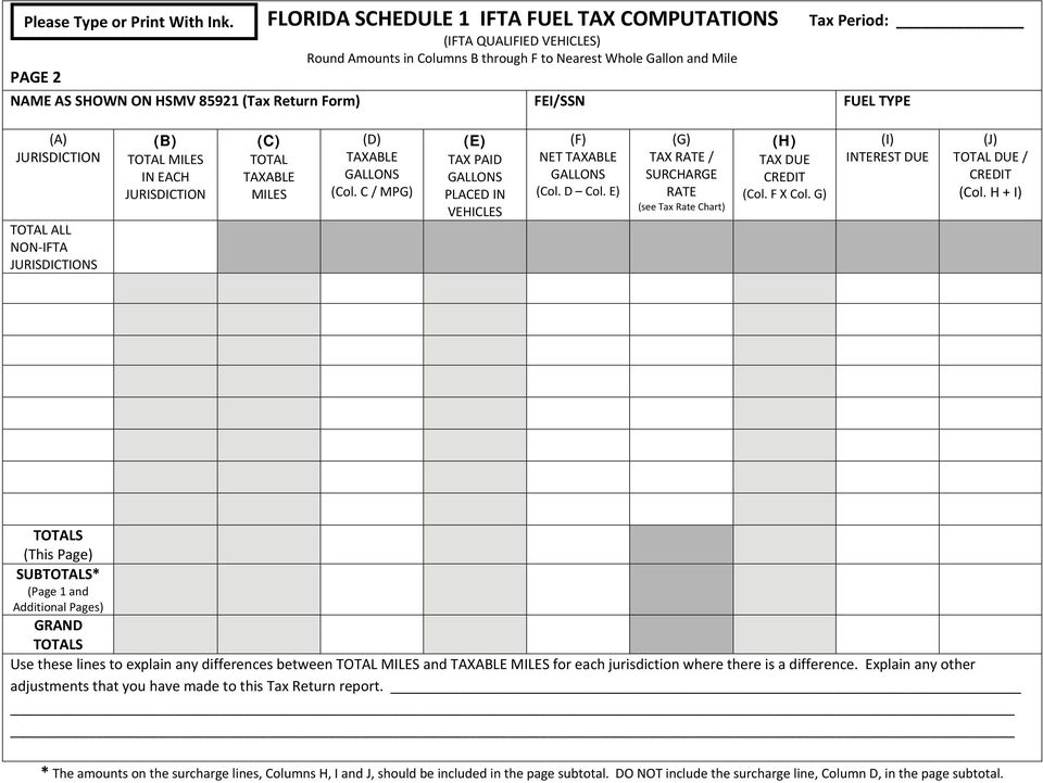1 Fuel Type A Separate FLORIDA SCHEDULE 1 IFTA FUEL TAX