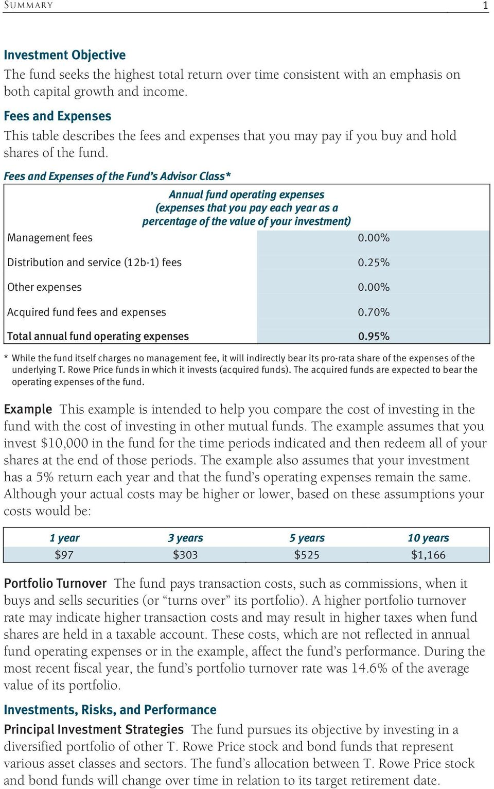 Fees and Expenses of the Fund s Advisor Class* Annual fund operating expenses (expenses that you pay each year as a percentage of the value of your investment) Management fees 0.