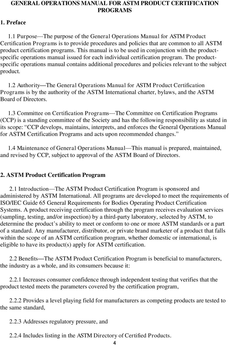 General Operations Manual For Astm Product Certification Program Pdf